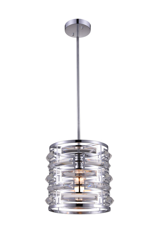 CWI Lighting 1 Light Drum Shade Mini Chandelier with Chrome finish | 9975P10-1-601