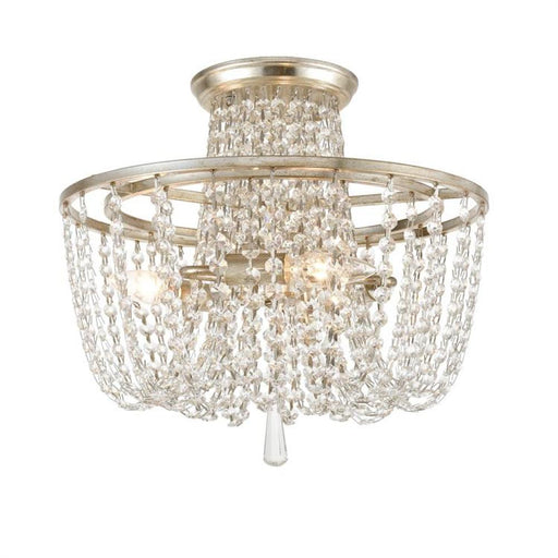 Crystorama Arcadia 3 Light Antique Silver Crystal Ceiling Mount | ARC-1900-SA-CL-MWP