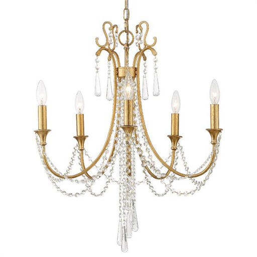 Crystorama Arcadia 5 Light Antique Gold Chandelier | ARC-1905-GA-CL-MWP