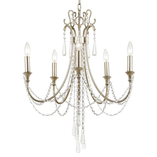 Crystorama Arcadia 5 Light Antique Silver Crystal Chandelier | ARC-1905-SA-CL-MWP