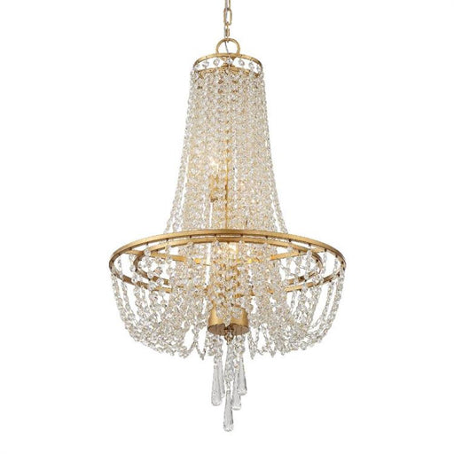 Crystorama Arcadia 4 Light Antique Gold Chandelier | ARC-1907-GA-CL-MWP