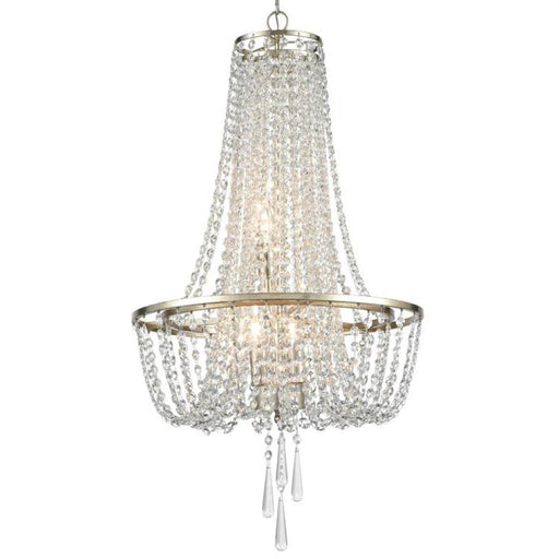 Crystorama Arcadia 4 Light Antique Silver Chandelier | ARC-1907-SA-CL-MWP