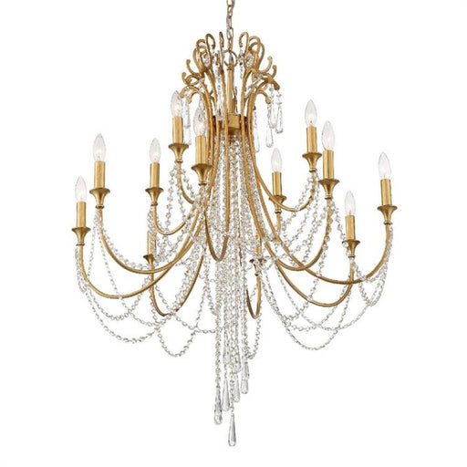 Crystorama Arcadia 12 Light Antique Gold Chandelier | ARC-1909-GA-CL-MWP