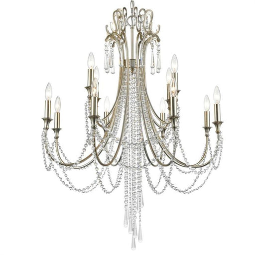 Crystorama Arcadia 12 Light Antique Silver Chandelier | ARC-1909-SA-CL-MWP