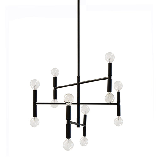 Dainolite 12 Lights Incandescent Chandelier, Matte Black | AVA-2012C-MB