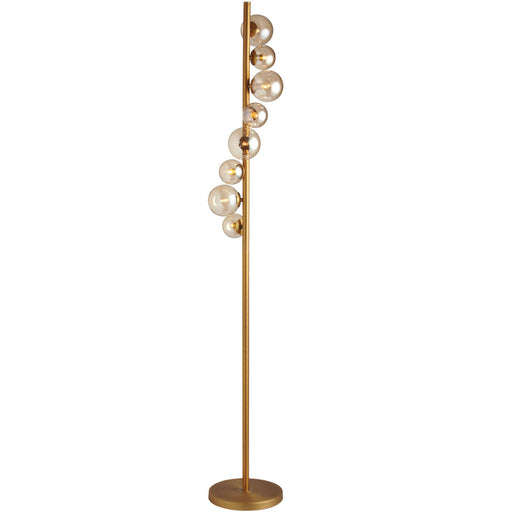 Dainolite 8 Lights Halogen Floor Lamp VB w/ Champagne Glass | GLA-638F-VB