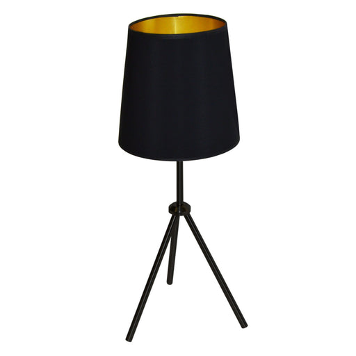 Dainolite 1 Light 3 Leg Drum Table Fixture w/BK-GLD Shd | OD3T-S-698-MB