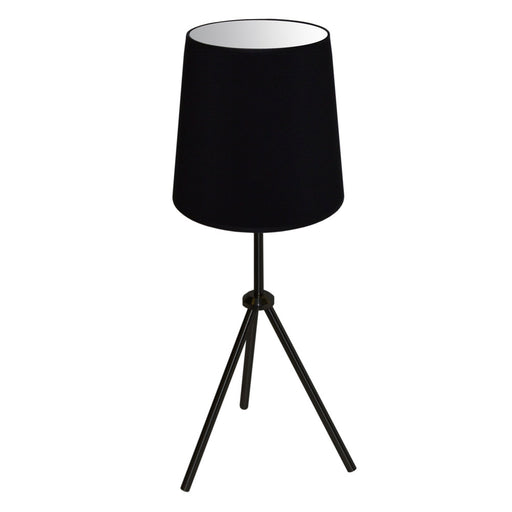 Dainolite 1 Light 3 Leg Drum Table Fixture w/Black Shade | OD3T-S-797-MB
