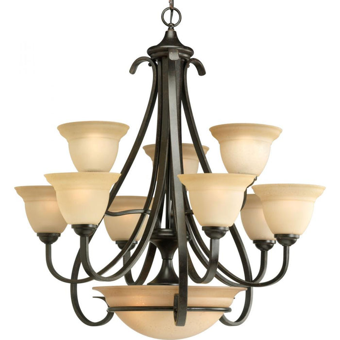 Progress Torino Collection Nine-Light, Two-Tier Chandelier | P4418-77