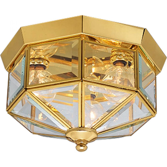 "Progress Three-Light Beveled Glass 9-3/4"" Close-to-Ceiling 