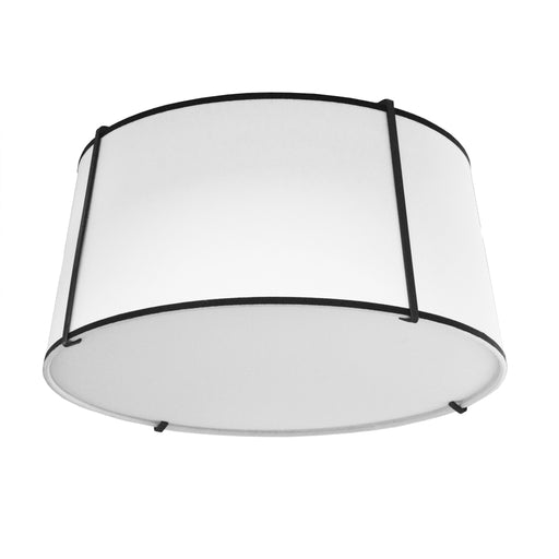 Dainolite 3 Lights Trapezoid Flush-Mount Black White Shade w/Diff | TRA-3FH-BK-WH