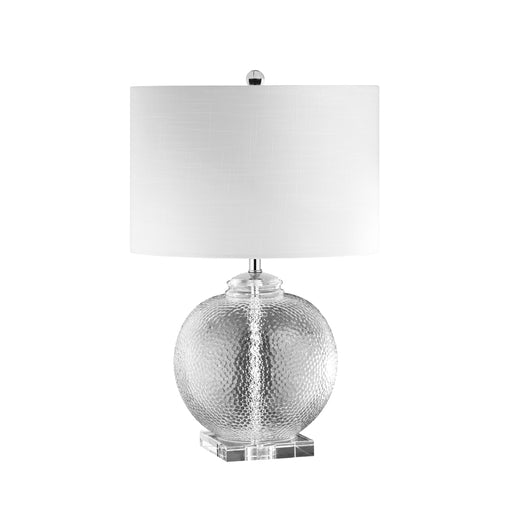 Dainolite 1 Light Glass Table Lamp w/ White Shade | TYR-235T-CLR