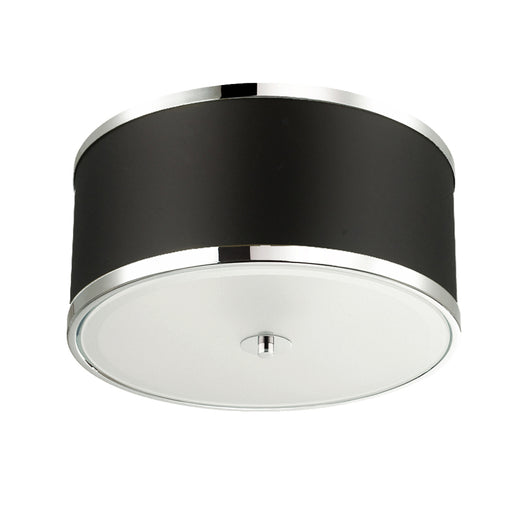 Dainolite 3 Lights Incandescent Flush Mount, PC w/BK Shade | ZUR-153FH-PC-BK