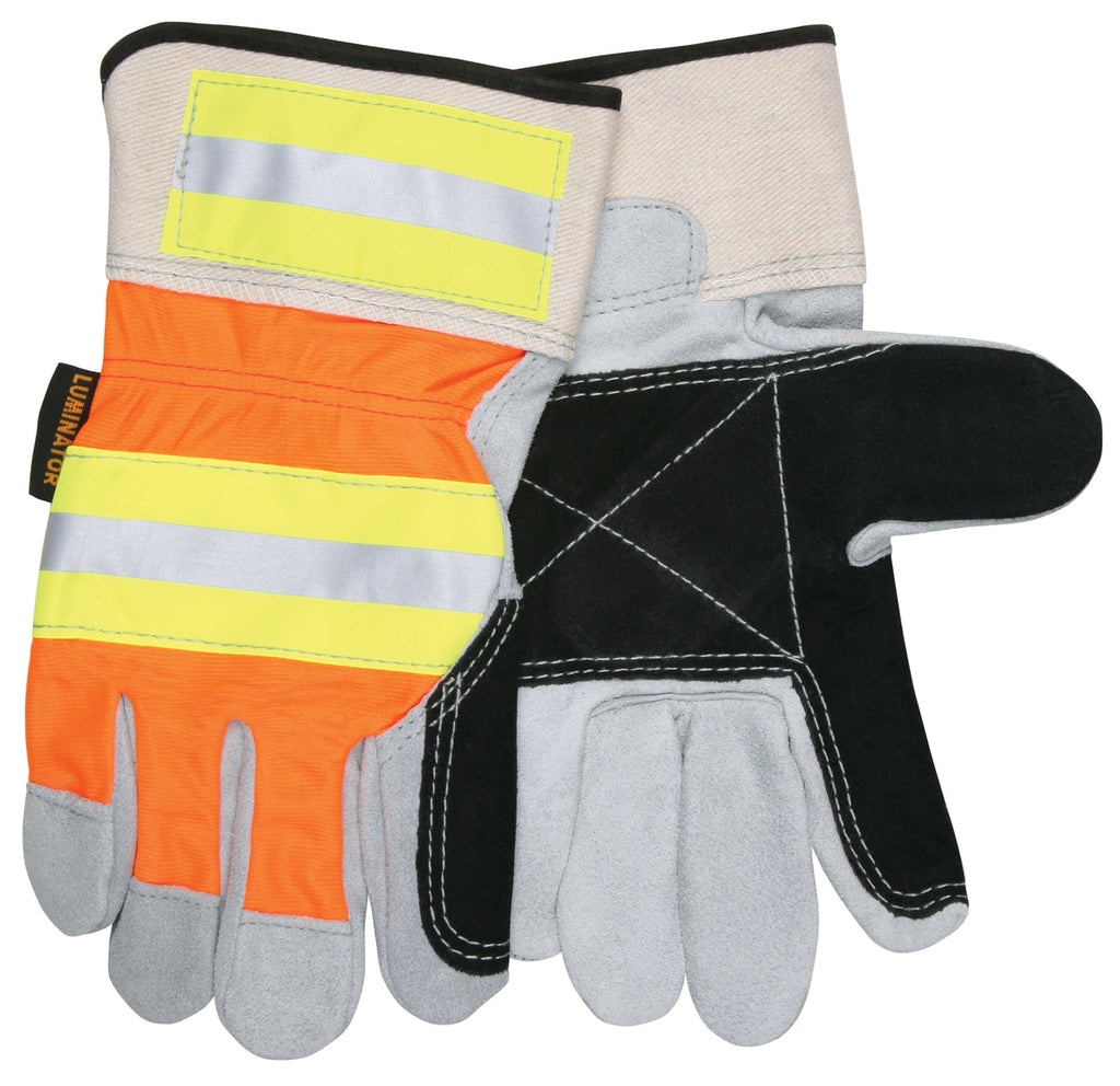 MCR Safety® Luminator™, Double Palm, Orange Hi-Vis Back with Reflective stripes, Large - Dozen, 14401DP