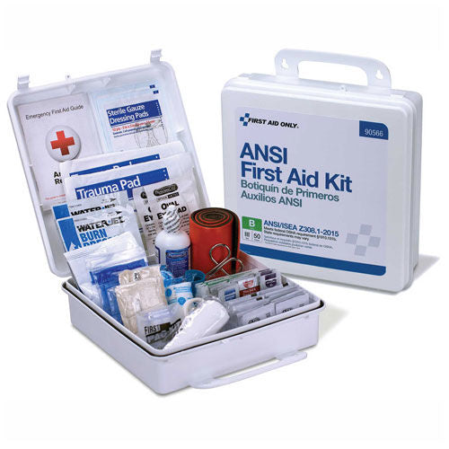 50-Person ANSI B Weatherproof First Aid Kit, Plastic
