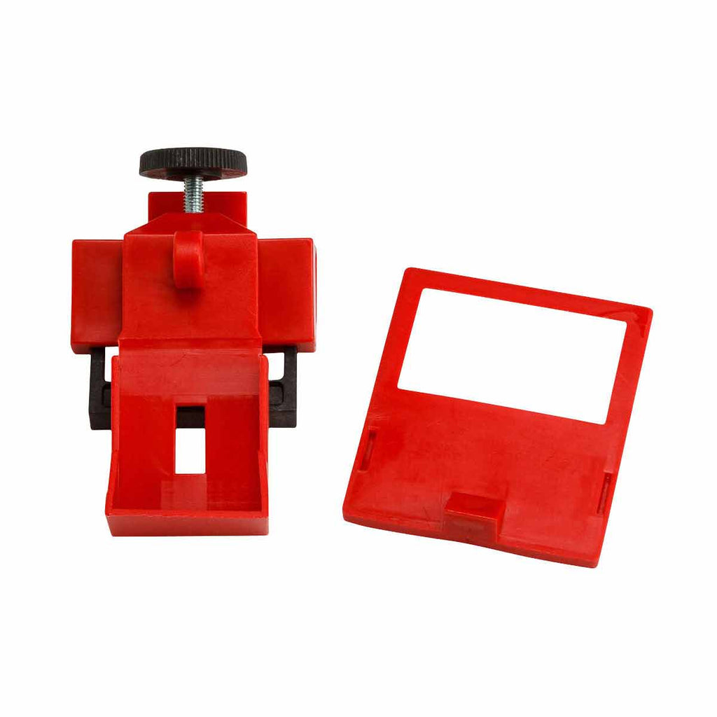 "Brady® Clamp-On Breaker Lockouts, 120/277 VAC, 2 3/16""H x 1""W x 11/16""D, Red, 6/Pkg - 65965"