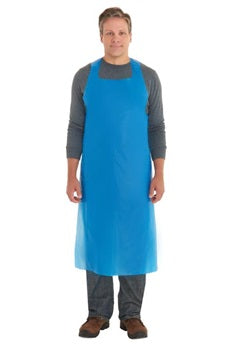 Ansell Disposable Polyethylene Aprons, 27 in X 46 in, Polyethylene, Blue - 100/Box - 012-56-230