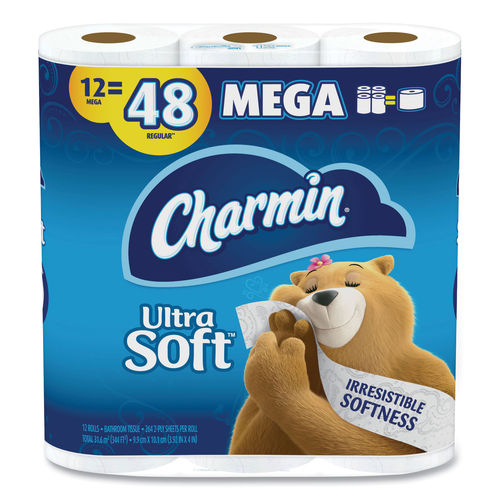Charmin Ultra Soft Bathroom Tissue 2-Ply, White, 4 x 3.92, 264 Sheets/Roll, 12 Rolls/Pack, 4 Packs/Carton