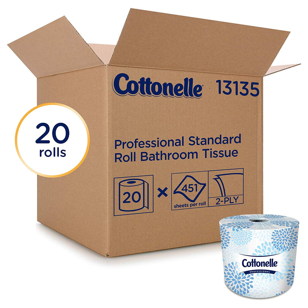 Cottonelle® Professional Bathroom Tissue Standard Toilet Paper Rolls, 2-PLY, White, 20 Rolls / Case, 451 Sheets / Roll