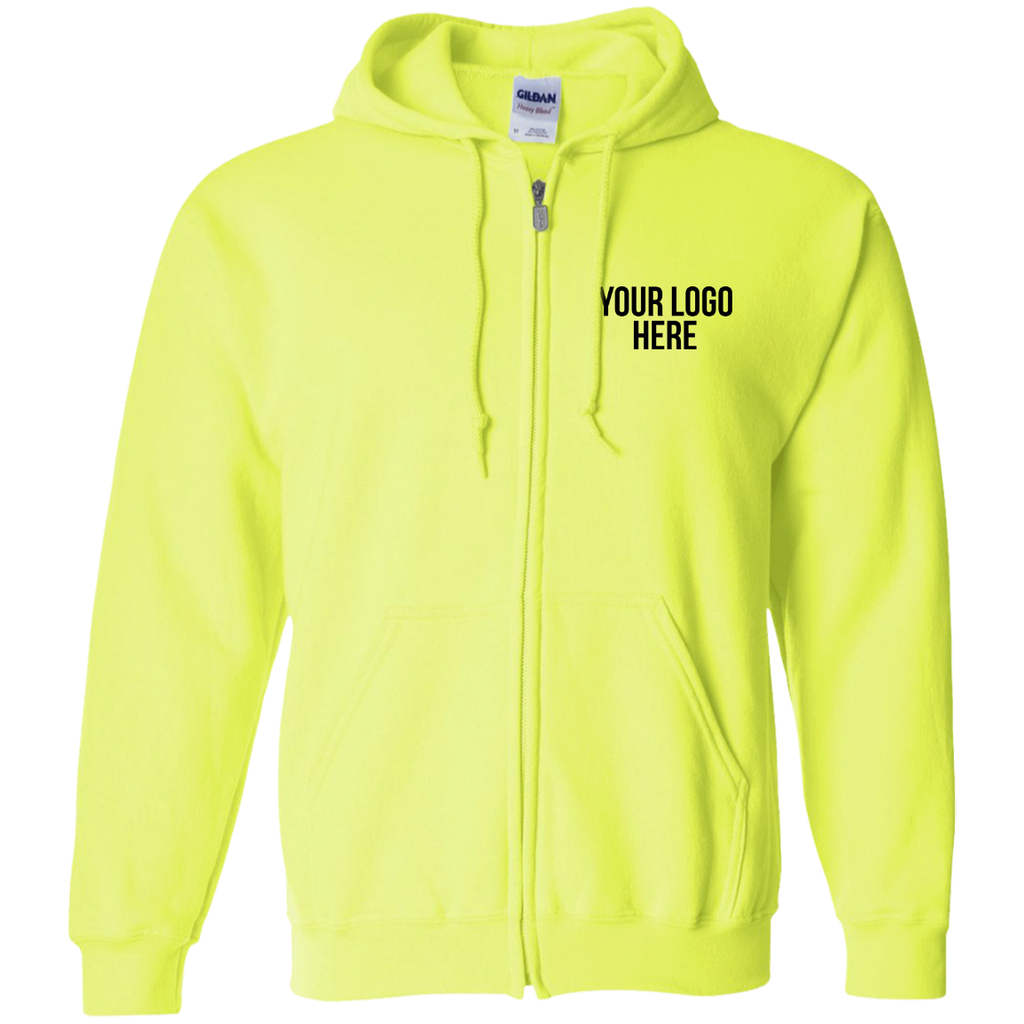 Custom Embroidered Gildan Hi Vis Full Zip Hoodie
