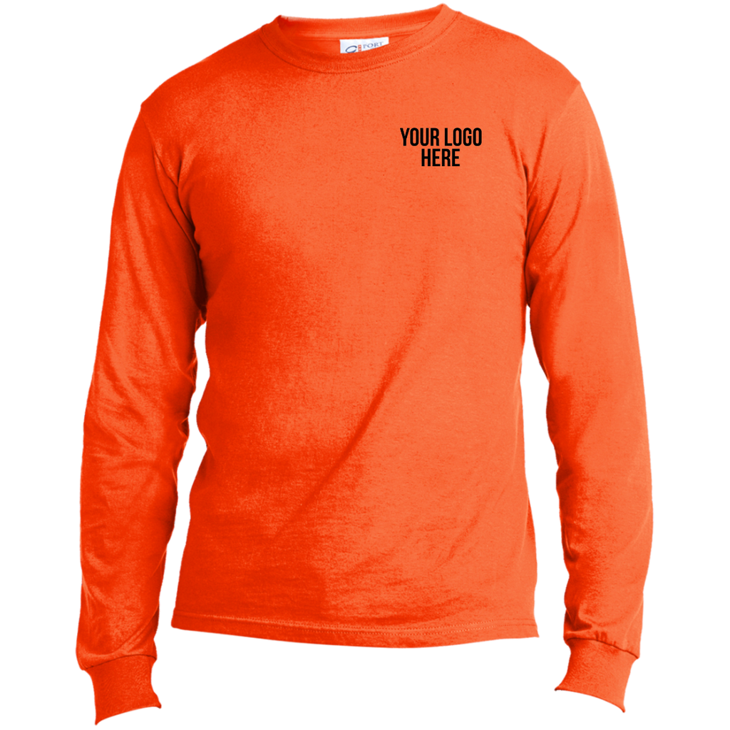 Safety Orange LS - 50/50 Cotton/Poly with Logo