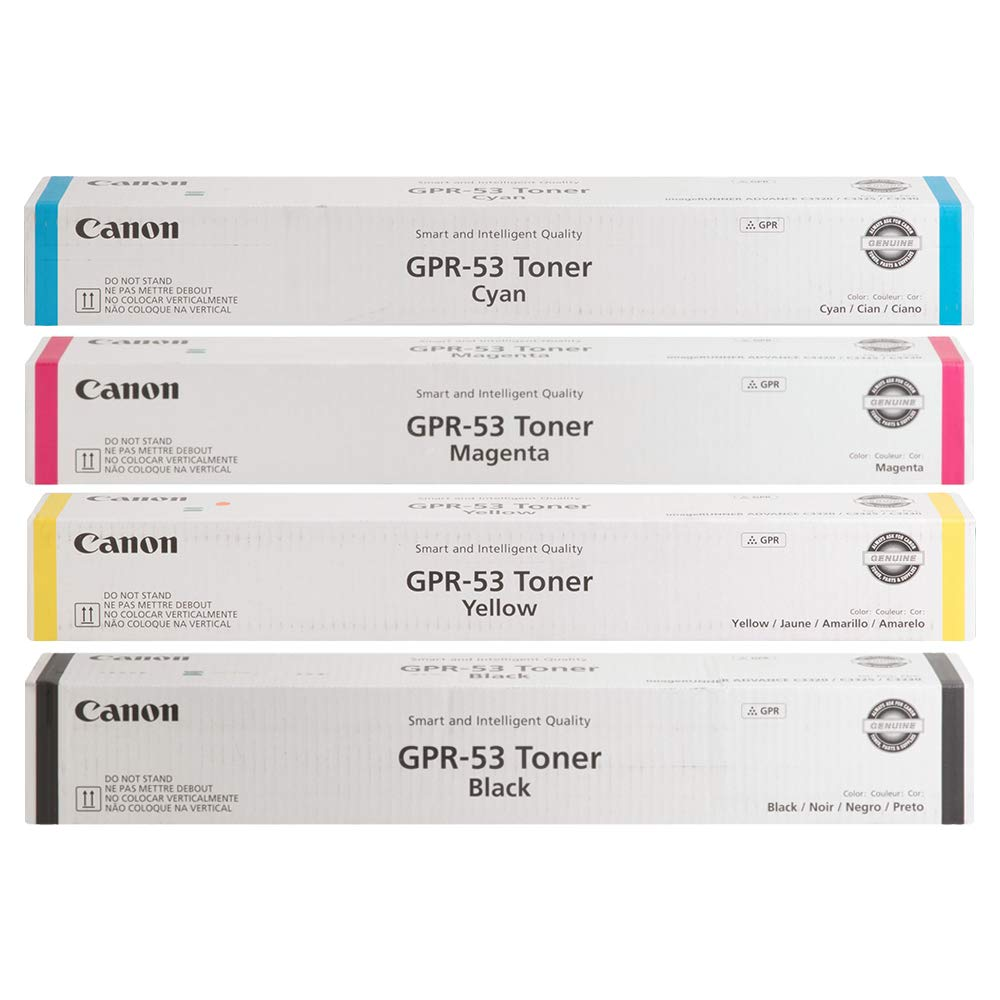 Canon GPR-53BK GPR-53C GPR-53M GPR-53Y Toner Cartridges Set (Black Cyan Magenta Yellow, 4-Pack)