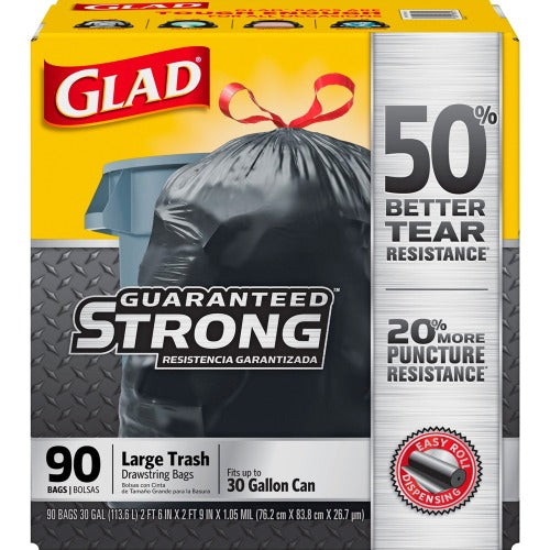 Clorox Glad Drawstring Trash Bags 30 Gallon, 90 Count