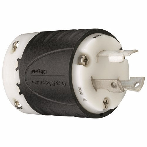 Pass & Seymour 30 AMP NEMA L530 PLUG - BLACK BACK, WHITE FRONT BODY