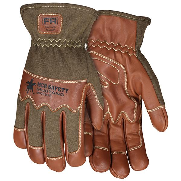 "MCR Safety® Mustang Utility Grain Goatskin Drivers w/ Nomex® Backs, 2 1/2"" Cuff - MU3624FR"