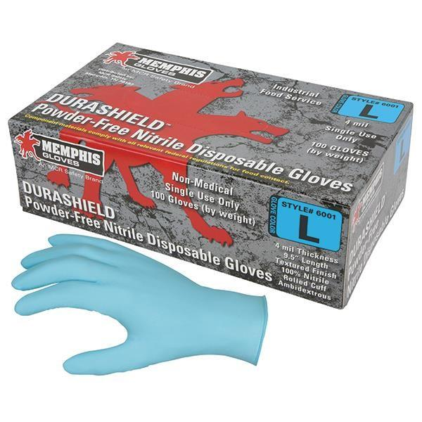 MCR Safety® DuraShield® Disposable Nitrile Gloves, Powder-Free, Blue, Medium, 100/Box - 6001M