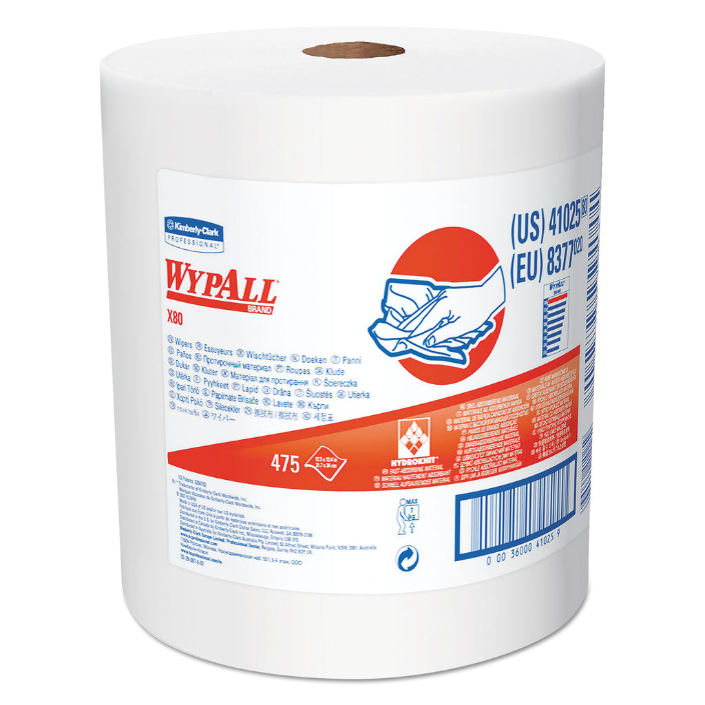 Heavy Duty General Purpose Industrial - X80 Cloths With Hydroknit, Jumbo Roll, 12.5 X 13.4 White, 475 Roll - 41025KC