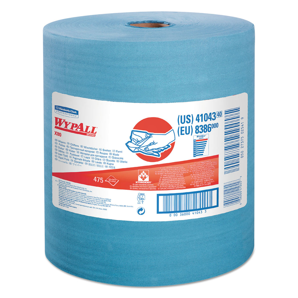 Heavy Duty General Purpose Industrial - X80 Cloths With Hydroknit, Jumbo Roll, 12.5 X 13.4, Blue, 475/roll - 41043KC