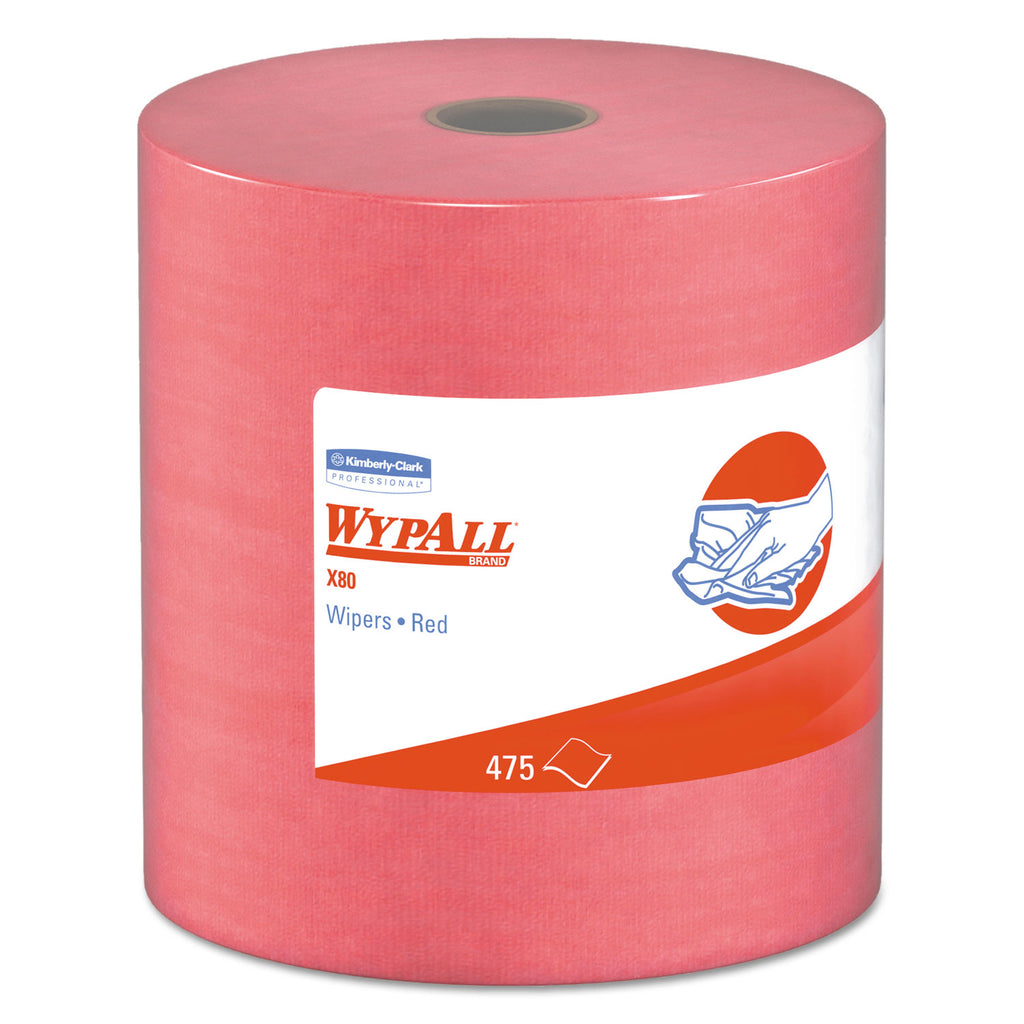 Heavy Duty General Purpose Industrial - X80 Cloths, Hydroknit, Jumbo Roll, 12.5 X 13.4, Red, 475 Wipers/roll - 41055KC