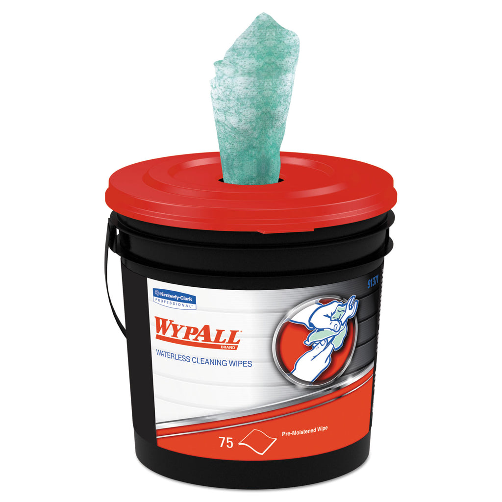 WypAll Waterless Industrial Cleaning Wipes, 9.5 X 12, 75/bucket / Carton 6 Buckets - 91371KC