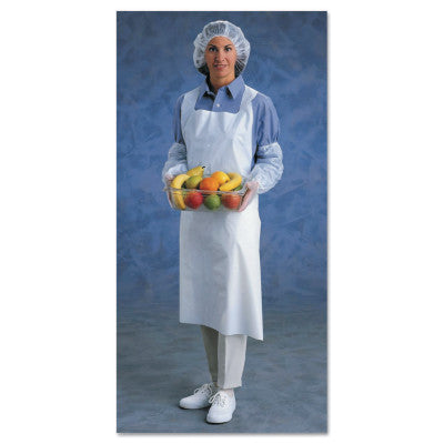 Ansell Disposable Polyethylene Aprons, 28 in X 45 in, Polyethylene, White - 100/Box - 012-54-290