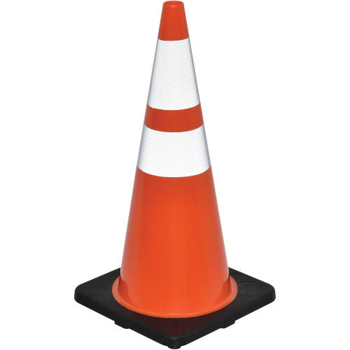 "Cortina DW Series 28"" Traffic Cone, Reflective, Black Base, 7 lbs - 0350010"
