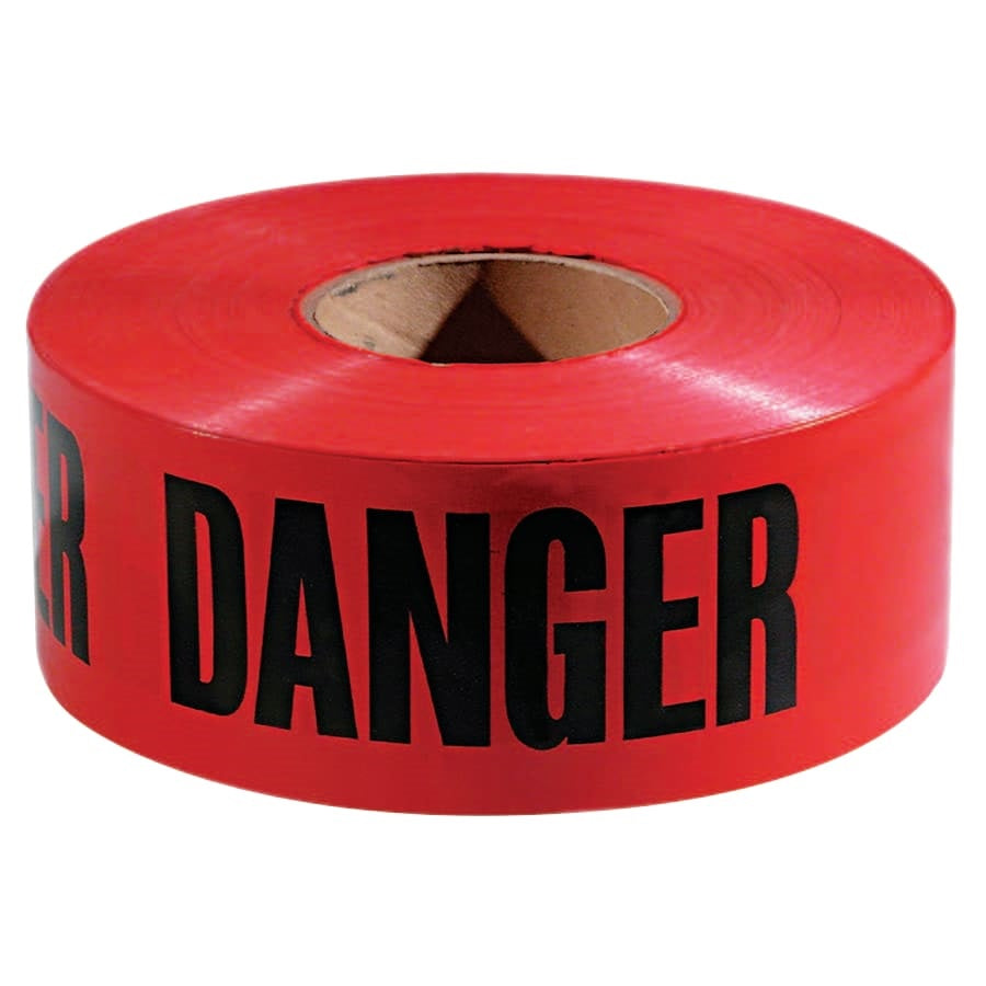 Empire Level Safety Barricade Tape, 3 in x 1,000 ft, Red, Danger - Roll