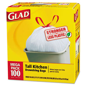 Clorox Glad Tall Drawstring Trash Bags 13 Gallon, 100 Count, White 4 / cs