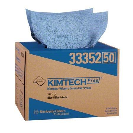 Kimtech Prep* Kimtex* Wipers, 12.1 X 16.8, Blue, Brag Box, 180/Box - 33352KC