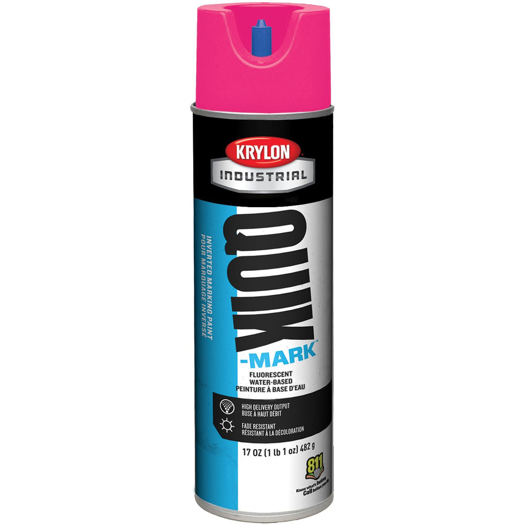 Krylon® Quik-Mark™ Inverted Marking Paint, Solvent Based, 20 oz Aerosol, Hot Pink, 12/Case - S03622