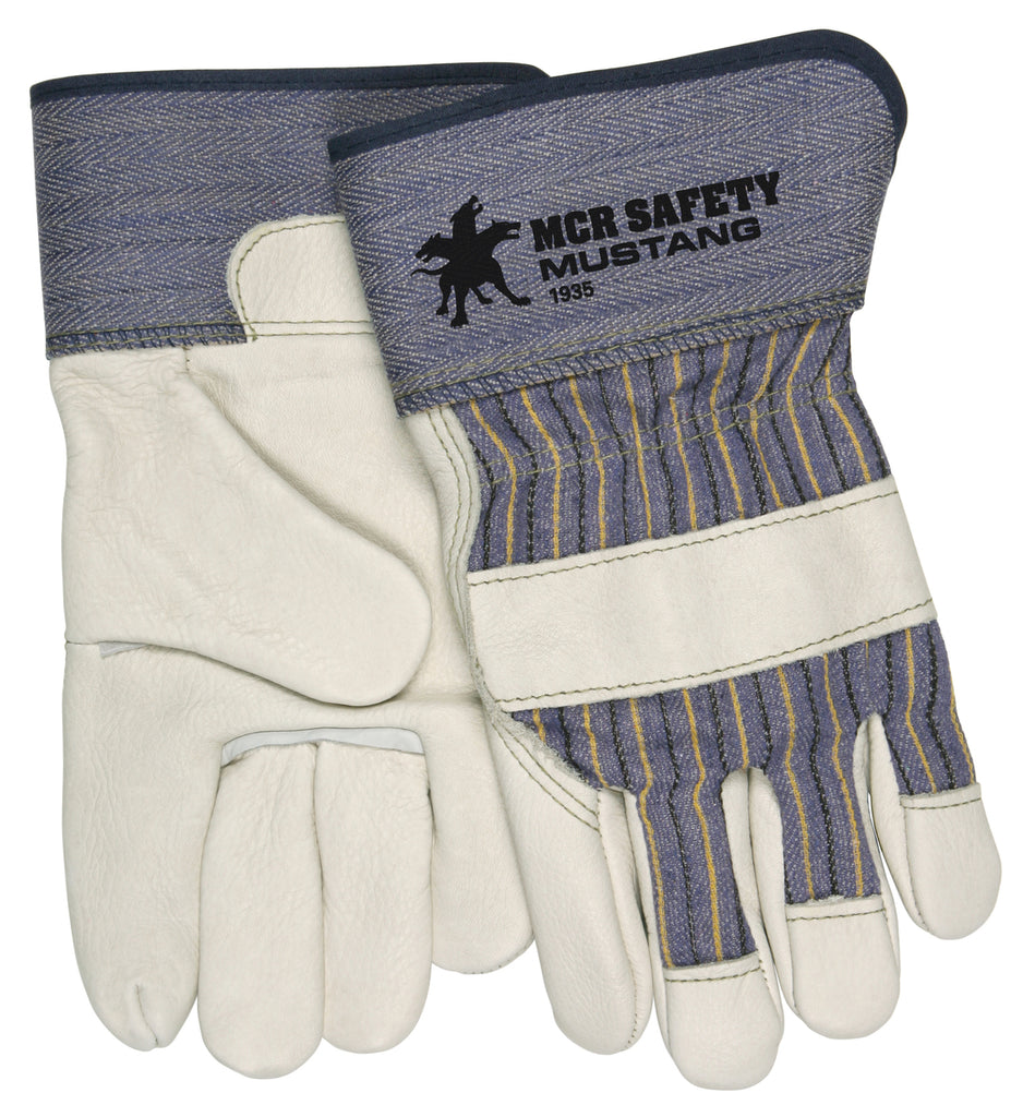 MCR Safety® Mustang™ Leather Palm Gloves - Dozen - 1935