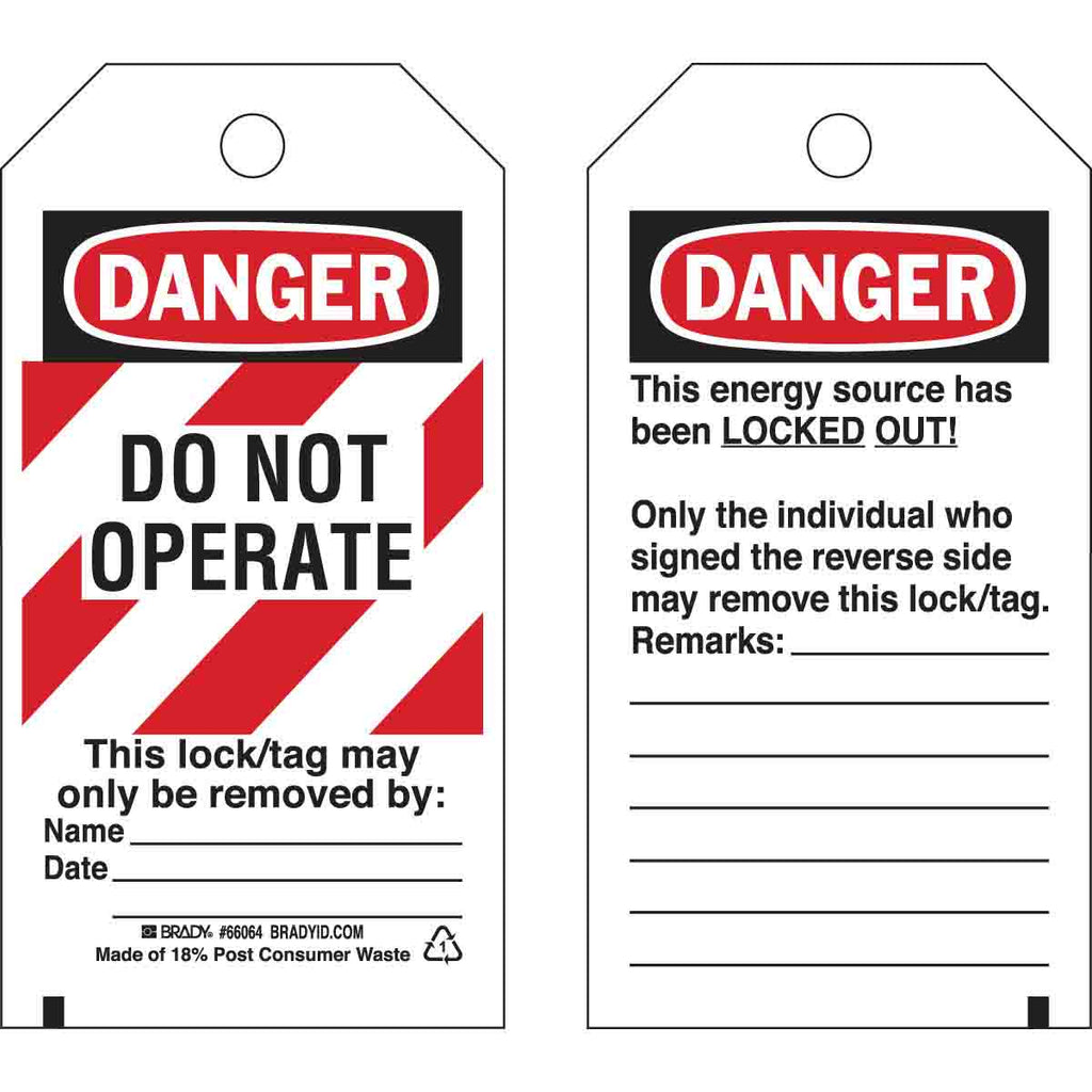 DANGER Do Not Operate Energy Source Lockout Tagout Tags - Pack of 25