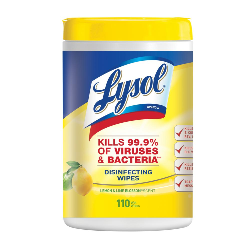 Reckitt Benckiser Lysol Disinfecting Wipes 110 Count, Lemon & Lime Blossom 6 / cs - 78849