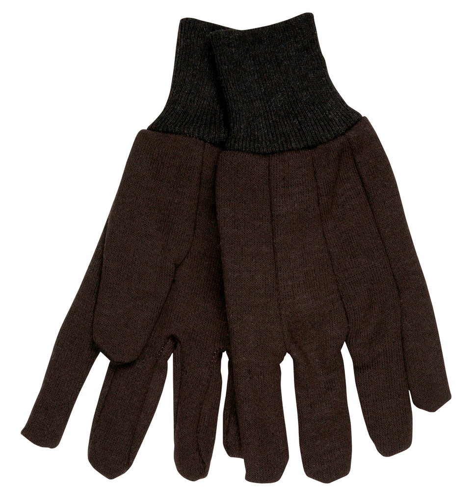 MCR Safety® Brown Jersey Glove Clute Pattern with Knit Wrist Cotton / Polyester Blend Large - Dozen - 7100P