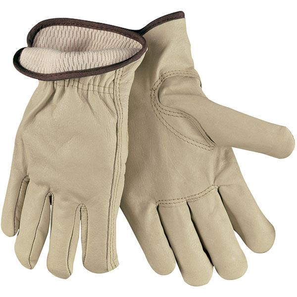 MCR Safety® Industry Grade Thermal Lined Cow Leather Drivers, Beige, 12/Pair - 3280