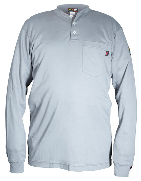 MCR Safety® Max Comfort™ FR Long Sleeve Henley Shirts, Gray - H1G
