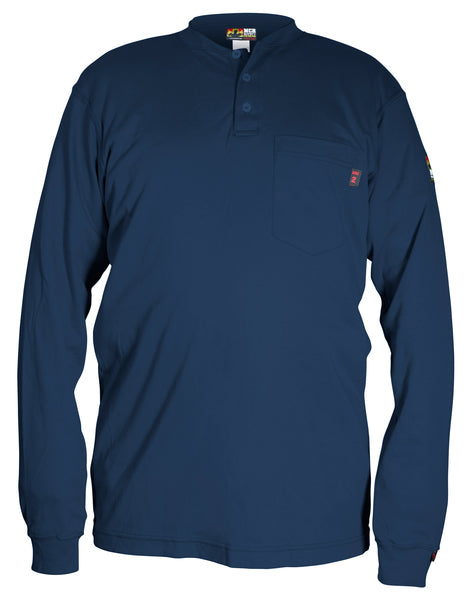 MCR Safety® Max Comfort™ FR Long Sleeve Henley Shirts, Navy - H1N