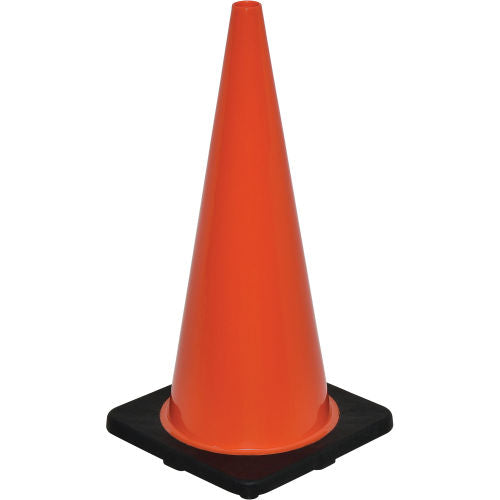 "Cortina DW Series 28"" Traffic Cone, Non-Reflective, Black Base, 7 lbs - 0350007"