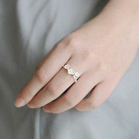 White Cherry Blossom Ring