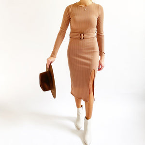 Tan Belted Bodycon Dress